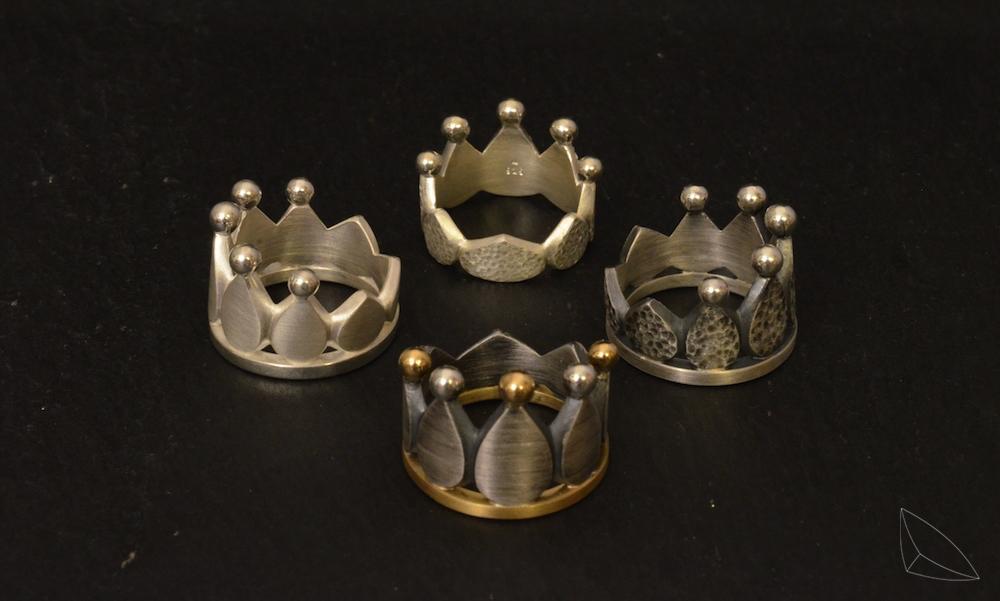 Kronenringe / Silber / Gelbgold