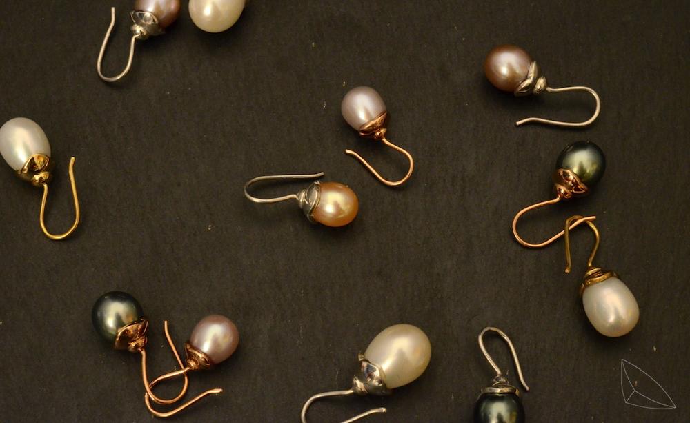 Perlenohrhänger / Silber / Gelb-/Rotgold